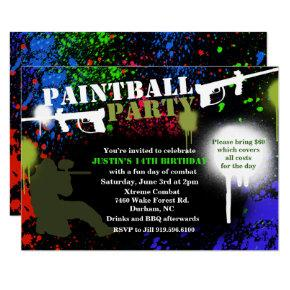 Paintball Party Birthday Invitation