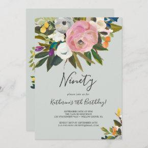 Painted Floral 90th Birthday Invitation