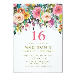 Painted Floral Girls 16th Birthday Invite