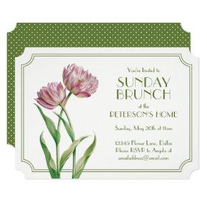 Painted Tulips and Polka Dots Sunday Brunch Card