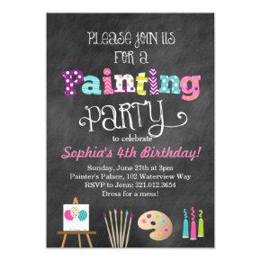 Painting Art Party Chalkboard Style Invitations