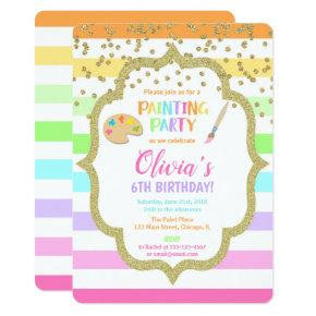 Painting birthday party invitation, Art birthday Invitation