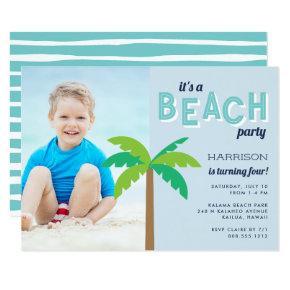 Palm Pop | Beach Birthday Party Photo Invitation