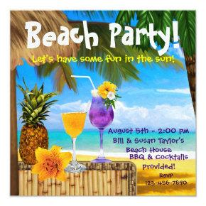 Palm Tree Cocktails Adult Beach Party Invitation