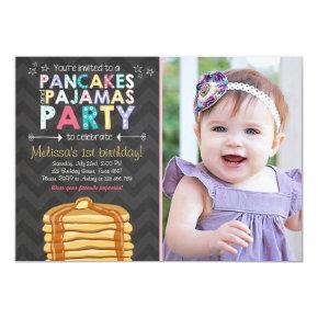 Pancake and Pajamas birthday Invitations