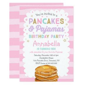 Pancake And Pajamas Birthday Invitations PJ's Party