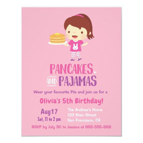 Pancakes and girl in pajamas birthday party invitations candied clouds pancakes and girl in pajamas birthday party invitations filmwisefo