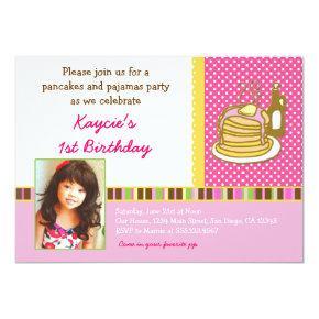Pancakes and Pajamas Birthday Invitations Photo