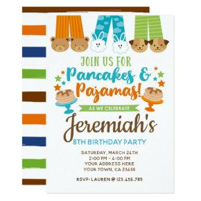 Pancakes and Pajamas Boy Birthday Invitations