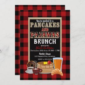 Pancakes and Pajamas Brunch Red Buffalo Plaid Invitation