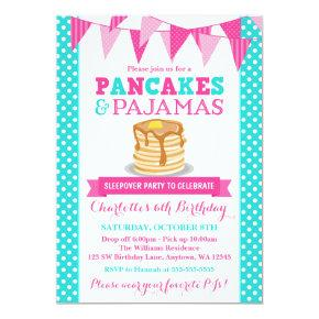 Pancakes and Pajamas Sleepover Pink Teal Birthday Invitations