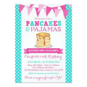 Pancakes and Pajamas Sleepover Pink Teal Birthday Invitation