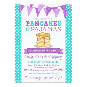 Pancakes and Pajamas Sleepover Purple Birthday Card