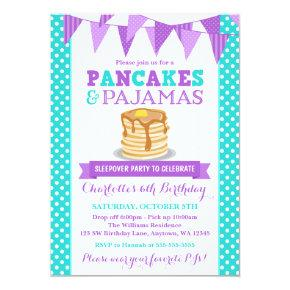Pancakes and Pajamas Sleepover Purple Birthday Invitations