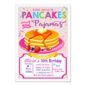 Pancakes Pajamas Birthday invite Girl party