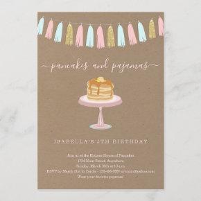 Pancakes & Pajamas Birthday Party Invitation