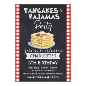 Pancakes Pajamas Birthday Party Invitations