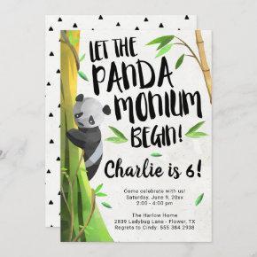 Panda Themed Birthday Party Invitation
