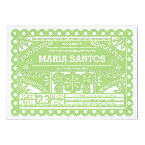 Papel Picado Birthday Party Invite - Green