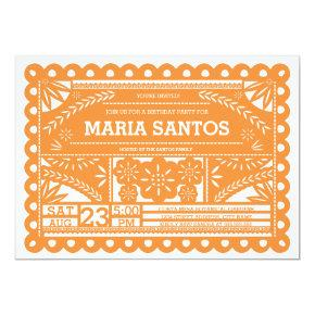 Papel Picado Birthday Party Invite - Orange