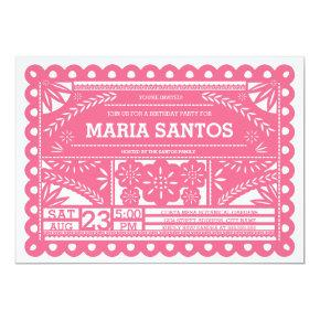 Papel Picado Birthday Party Invite - Pink