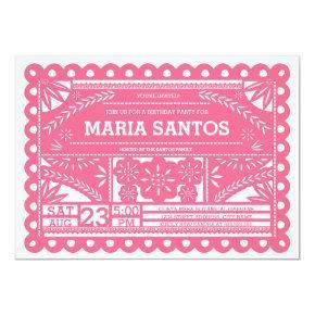 Papel Picado Birthday Party Invite - Pink