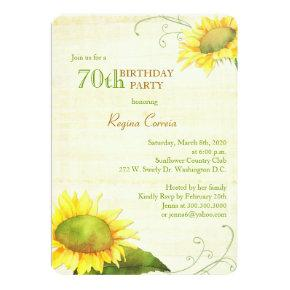 Papyrus Sunflowers 70th Birthday Party Card