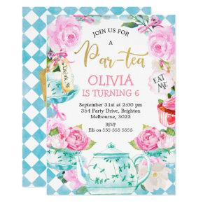 Par-tea Tea Party Birthday Invitation