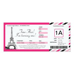 Paris Birthday Boarding Pass Ticket Invitations