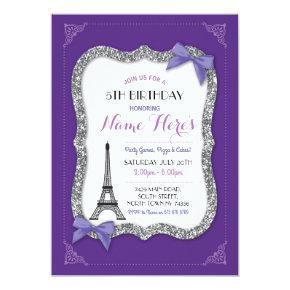 Paris Birthday Girl's Purple Eiffel Tower Invite
