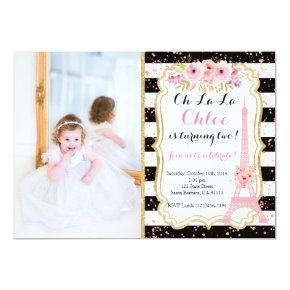 Paris Birthday Invitations Eiffel Tower