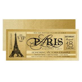 Paris Birthday Party Invitation Gold Paris Ticket