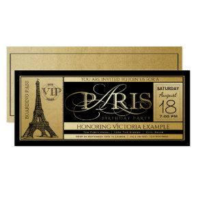 Paris Birthday Party Invitation Ticket Invitations