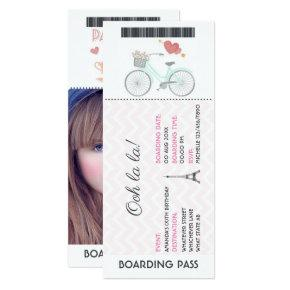 Paris Boarding Pass Birthday add photo Invitation