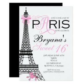 Paris Chic Elegant Pink & Black Party Invitations