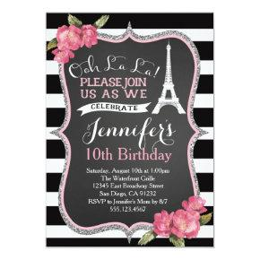 Paris Eiffel Tower Birthday Party Invitations