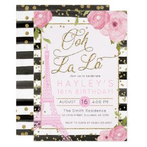 Paris Eiffel Tower Black Gold Birthday Invite