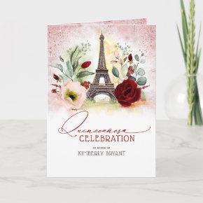 Paris Eiffel Tower Pink Gold Quinceañera Photo Invitation