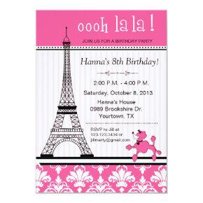 Paris Eiffel Tower Theme Birthday Party Pink Invitation