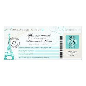 Paris France Eiffel Tower Vintage Boarding Pass Invitations
