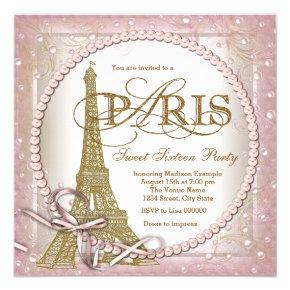 Paris Sweet 16 Party Pink and Gold Pearl Invitations