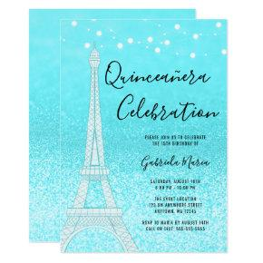 Paris Teal Blue Glitter Lights Quinceañera Invitation