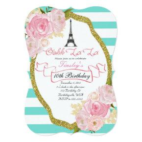 Paris Theme Birthday Party Invitations