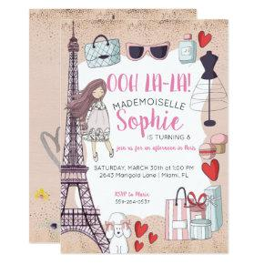 Paris Themed Tween Party Invitations
