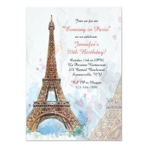 Paris Watercolor Invitation
