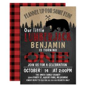 Part Chalkboard Lumberjack 1st Birthday Invitation