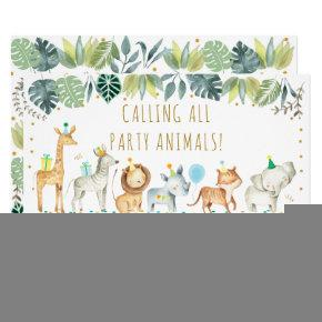 Party Animals Boy Safari Birthday Invitation