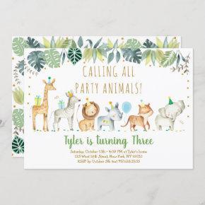 Party Animals Boy Safari Birthday Invitation