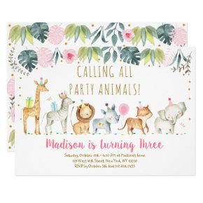 Party Animals Girl Safari Birthday Invitation