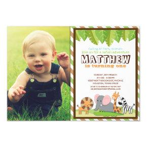 Party Animals Jungle Safari Birthday Photo Invitation